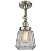 Innovations Lighting 201F-SN-G142-LED Chatham LED 6 inch Brushed Satin Nickel Semi-Flush Mount Ceiling Light