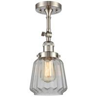 Innovations Lighting 201F-SN-G142-LED Chatham LED 6 inch Satin Nickel Semi-Flush Mount Ceiling Light Franklin Restoration