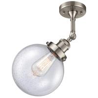 Innovations Lighting 201F-SN-G204-8-LED Large Beacon LED 8 inch Satin Nickel Semi-Flush Mount Ceiling Light Franklin Restoration