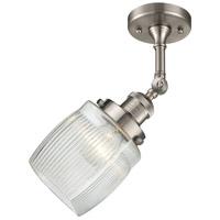 Innovations Lighting 201F-SN-G302 Colton 1 Light 6 inch Satin Nickel Semi-Flush Mount Ceiling Light, Franklin Restoration