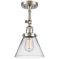Innovations Lighting 201F-SN-G42-LED Large Cone LED 8 inch Satin Nickel Semi-Flush Mount Ceiling Light, Franklin Restoration