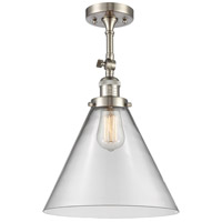 Innovations Lighting 201F-SN-G42-L-LED X-Large Cone LED 12 inch Satin Nickel Semi-Flush Mount Ceiling Light Franklin Restoration