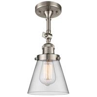 Innovations Lighting 201F-SN-G62-LED Small Cone LED 6 inch Brushed Satin Nickel Semi-Flush Mount Ceiling Light