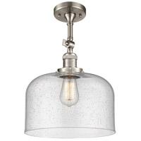 Innovations Lighting 201F-SN-G74-L-LED X-Large Bell LED 12 inch Satin Nickel Semi-Flush Mount Ceiling Light Franklin Restoration