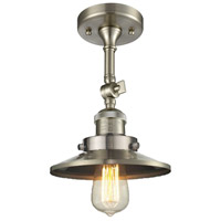 Innovations Lighting 201F-SN-M2-LED Railroad LED 8 inch Brushed Satin Nickel Semi-Flush Mount Ceiling Light, Franklin Restoration photo thumbnail