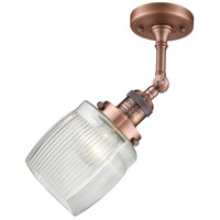Innovations Lighting 201F-AC-G302-LED Colton LED 6 inch Antique Copper Semi-Flush Mount Ceiling Light Franklin Restoration