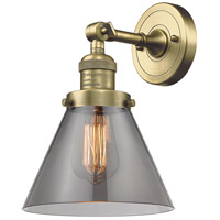 Innovations Lighting 203-AB-G43-LED Large Cone LED 8 inch Antique Brass Sconce Wall Light