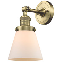 Innovations Lighting 203-AB-G61-LED Small Cone LED 6 inch Antique Brass Sconce Wall Light