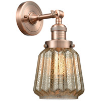 Innovations Lighting 203-AC-G146-LED Chatham LED 6 inch Antique Copper Sconce Wall Light, Franklin Restoration