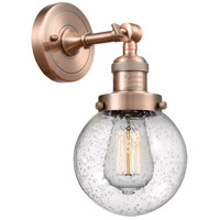 Innovations Lighting 203-AC-G204-6 Beacon 1 Light 6 inch Antique Copper Sconce Wall Light Franklin Restoration