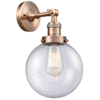 Innovations Lighting 203-AC-G204-8 Large Beacon 1 Light 8 inch Antique Copper Sconce Wall Light Franklin Restoration