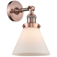 Innovations Lighting 203-AC-G41-LED Large Cone LED 8 inch Antique Copper Sconce Wall Light, Franklin Restoration