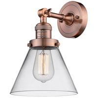 Innovations Lighting 203-AC-G42-LED Large Cone LED 8 inch Antique Copper Sconce Wall Light Franklin Restoration