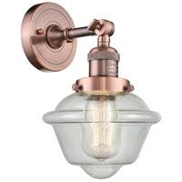 Innovations Lighting 203-AC-G534 Small Oxford 1 Light 8 inch Antique Copper Sconce Wall Light Franklin Restoration