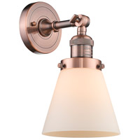 Innovations Lighting 203-AC-G61 Small Cone 1 Light 6 inch Antique Copper Sconce Wall Light Franklin Restoration