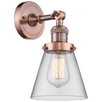 Innovations Lighting 203-AC-G62-LED Small Cone LED 6 inch Antique Copper Sconce Wall Light