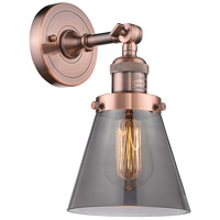 Innovations Lighting 203-AC-G63-LED Small Cone LED 6 inch Antique Copper Sconce Wall Light