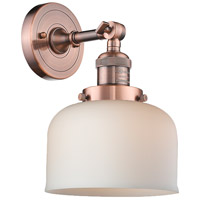 Innovations Lighting 203-AC-G71-LED Large Bell LED 8 inch Antique Copper Sconce Wall Light