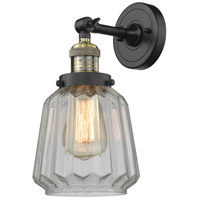 Innovations Lighting 203-BAB-G142-LED Chatham LED 6 inch Black Antique Brass Sconce Wall Light