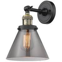 Innovations Lighting 203-BAB-G43-LED Large Cone LED 8 inch Black Antique Brass Sconce Wall Light