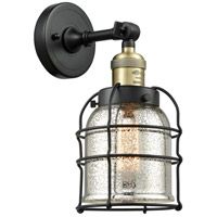 Innovations Lighting 203-BAB-G58-CE Small Bell Cage 1 Light 6 inch Black Antique Brass Sconce Wall Light Franklin Restoration