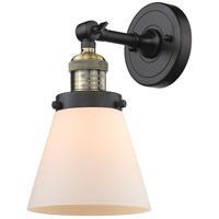 Innovations Lighting 203-BAB-G61 Small Cone 1 Light 6 inch Black Antique Brass Sconce Wall Light Franklin Restoration