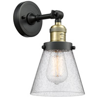 Innovations Lighting 203-BAB-G64-LED Small Cone LED 6 inch Black Antique Brass Sconce Wall Light