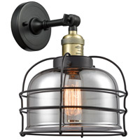 Innovations Lighting 203-BAB-G73-CE-LED Large Bell Cage LED 9 inch Black Antique Brass Sconce Wall Light Franklin Restoration