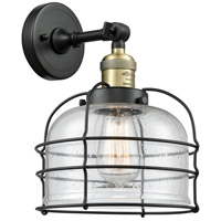 Innovations Lighting 203-BAB-G74-CE Large Bell Cage 1 Light 9 inch Black Antique Brass Sconce Wall Light Franklin Restoration
