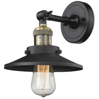 Innovations Lighting 203-BBB-M6 Railroad 1 Light 8 inch Black and Brushed Brass Wall Sconce Wall Light