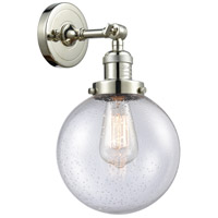 Innovations Lighting 203-PN-G204-8 Large Beacon 1 Light 8 inch Polished Nickel Sconce Wall Light Franklin Restoration