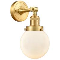 Innovations Lighting 203-SG-G201-6 Beacon 1 Light 6 inch Satin Gold Sconce Wall Light