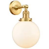 Innovations Lighting 203-SG-G201-8-LED Large Beacon LED 8 inch Satin Gold Sconce Wall Light