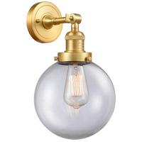 Innovations Lighting 203-SG-G202-8-LED Large Beacon LED 8 inch Satin Gold Sconce Wall Light