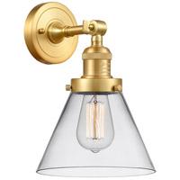 Innovations Lighting 203-SG-G42 Large Cone 1 Light 8 inch Satin Gold Sconce Wall Light Franklin Restoration