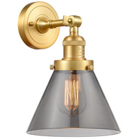 Innovations Lighting 203-SG-G43 Large Cone 1 Light 8 inch Satin Gold Sconce Wall Light