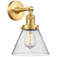 Innovations Lighting 203-SG-G44 Large Cone 1 Light 8 inch Satin Gold Sconce Wall Light Franklin Restoration