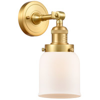 Innovations Lighting 203-SG-G51-LED Small Bell LED 5 inch Satin Gold Sconce Wall Light