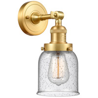Innovations Lighting 203-SG-G54-LED Small Bell LED 5 inch Satin Gold Sconce Wall Light