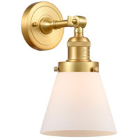 Innovations Lighting 203-SG-G61-LED Small Cone LED 6 inch Satin Gold Sconce Wall Light