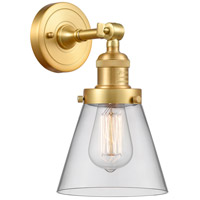 Innovations Lighting 203-SG-G62-LED Small Cone LED 6 inch Satin Gold Sconce Wall Light