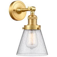 Innovations Lighting 203-SG-G64-LED Small Cone LED 6 inch Satin Gold Sconce Wall Light