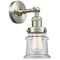 Innovations Lighting 203-SN-G182S-LED Small Canton LED 7 inch Brushed Satin Nickel Sconce Wall Light Franklin Restoration