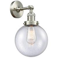 Innovations Lighting 203-SN-G204-8-LED Large Beacon LED 8 inch Brushed Satin Nickel Sconce Wall Light Franklin Restoration