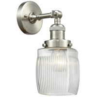 Innovations Lighting 203-SN-G302-LED Colton LED 6 inch Brushed Satin Nickel Sconce Wall Light
