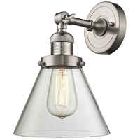 Innovations Lighting 203-SN-G42-LED Large Cone LED 8 inch Brushed Satin Nickel Sconce Wall Light Franklin Restoration