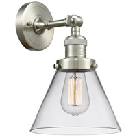Innovations Lighting 203-SN-G42-LED Large Cone LED 8 inch Satin Nickel Sconce Wall Light, Franklin Restoration