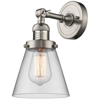 Innovations Lighting 203-SN-G62-LED Small Cone LED 6 inch Brushed Satin Nickel Sconce Wall Light Franklin Restoration