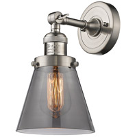 Innovations Lighting 203-SN-G63-LED Small Cone LED 6 inch Brushed Satin Nickel Sconce Wall Light