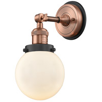 Innovations Lighting 203BP-ACBK-G201-6 Beacon 1 Light 6 inch Antique Copper Sconce Wall Light
